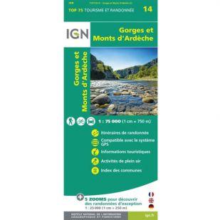 IGN Gorges et Monts d'Ardèche (14)  - Wandel- en Fietskaart