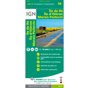 IGN Ile de Re, Ile d'Oleron, Marais Poitevin (38) - Wandel- en Fietskaart