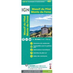 IGN Massif du Pilat / Monts du Forez (40) - Wandel- en Fietskaart