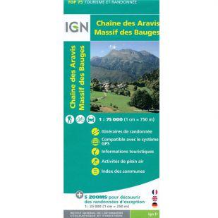 IGN Provence (32):  Chaine des Aravis - Massif des Bauges  - Wandel- en Fietskaart
