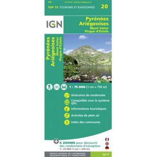 IGN Pyrenees Ariegeoises, Mont Valier, Pique d'Estats (20) - Wandel- en Fietskaart